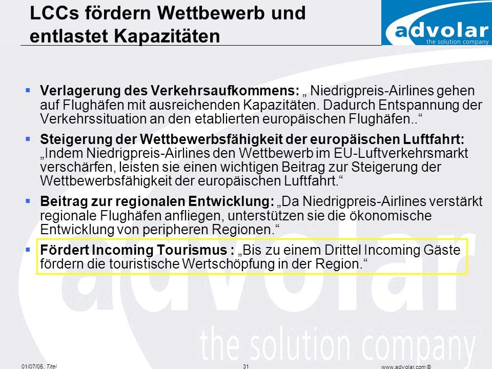 LCCs fördern Wettbewerb und entlastet Kapazitäten