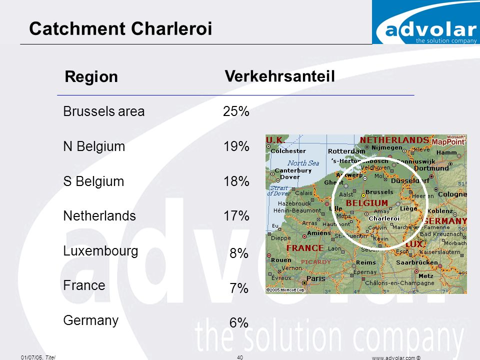 8% 7% 6% Catchment Charleroi Region Verkehrsanteil Brussels area 25%