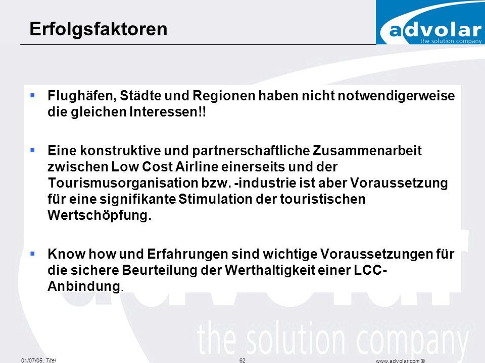 Erfolgsfaktoren Flughäfen, Städte und Regionen haben nicht notwendigerweise die gleichen Interessen!!