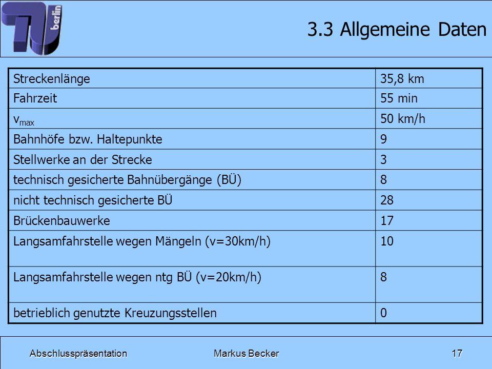 3.3 Allgemeine Daten Streckenlänge 35,8 km Fahrzeit 55 min vmax