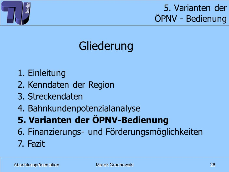 5. Varianten der ÖPNV - Bedienung