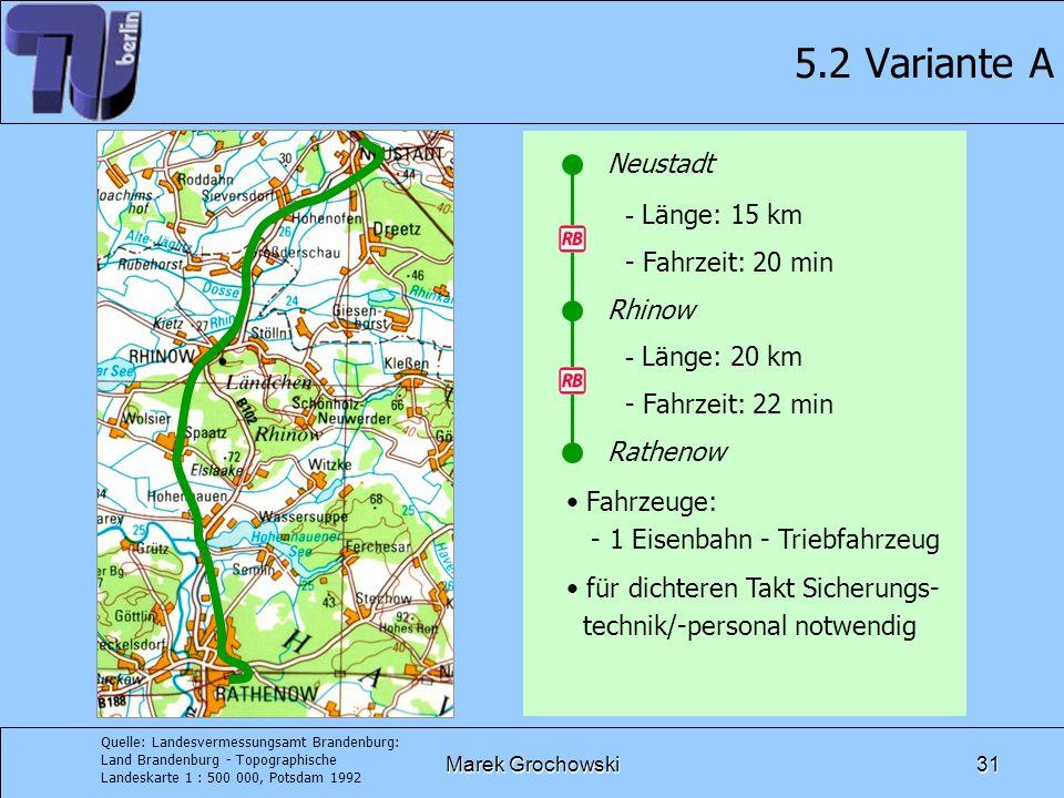 5.2 Variante A Neustadt Länge: 15 km Fahrzeit: 20 min Rhinow