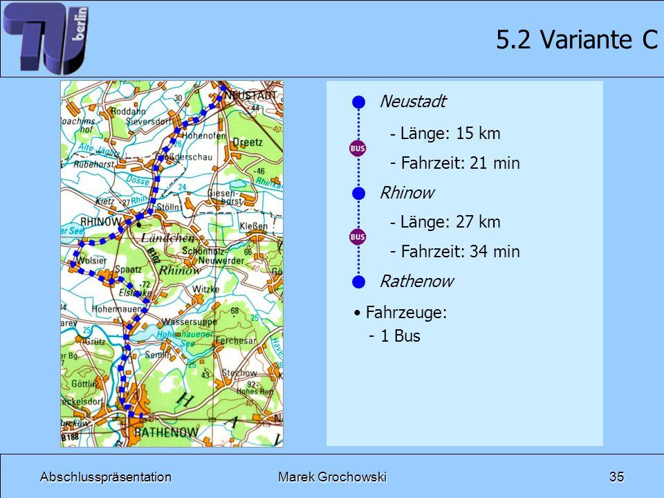 5.2 Variante C Neustadt Länge: 15 km Fahrzeit: 21 min Rhinow