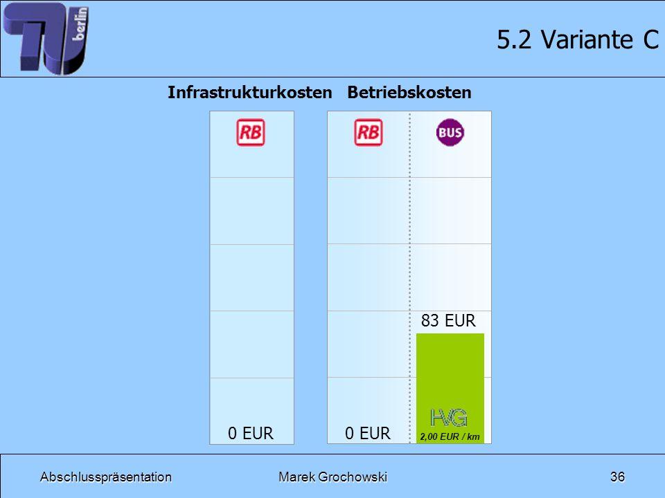 5.2 Variante C Infrastrukturkosten 0 EUR Betriebskosten 83 EUR