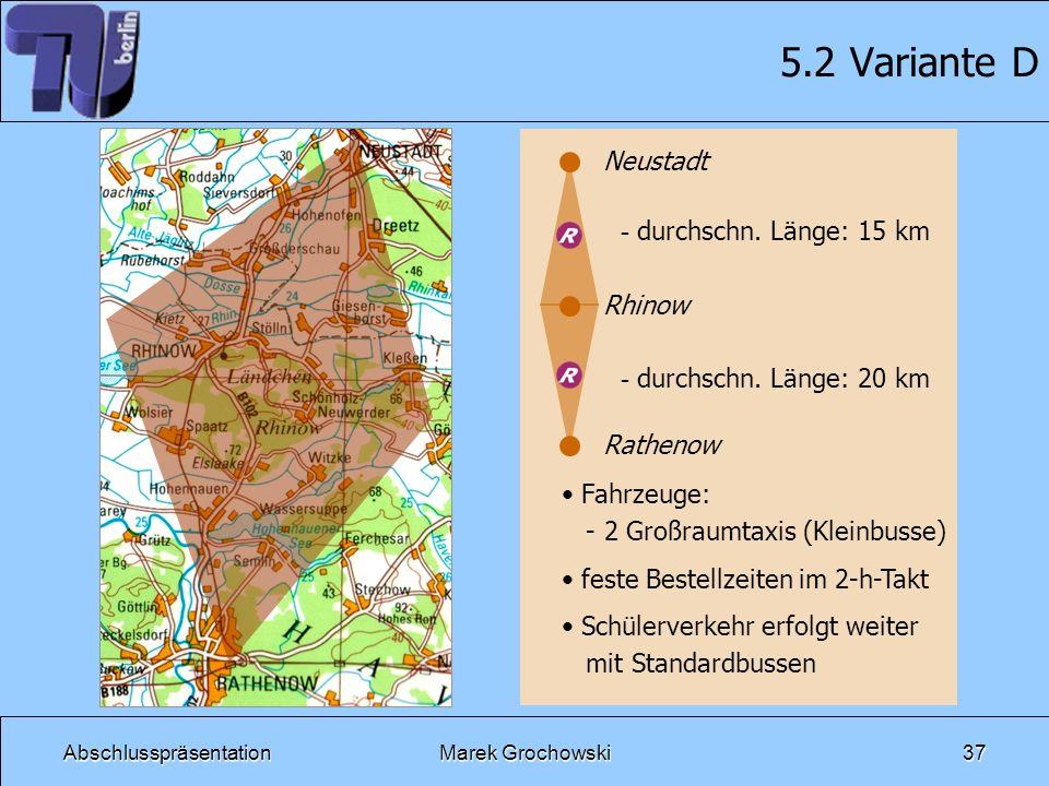 5.2 Variante D Neustadt durchschn. Länge: 15 km Rhinow