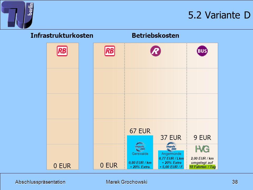 5.2 Variante D Betriebskosten Infrastrukturkosten 0 EUR 67 EUR 37 EUR