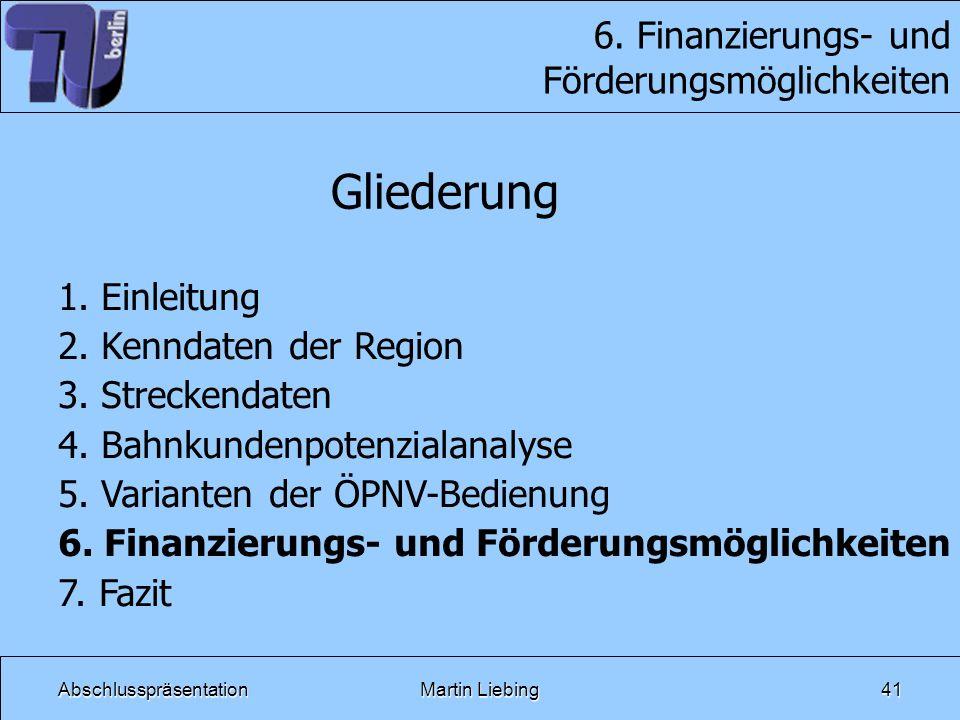 6. Finanzierungs- und Förderungsmöglichkeiten