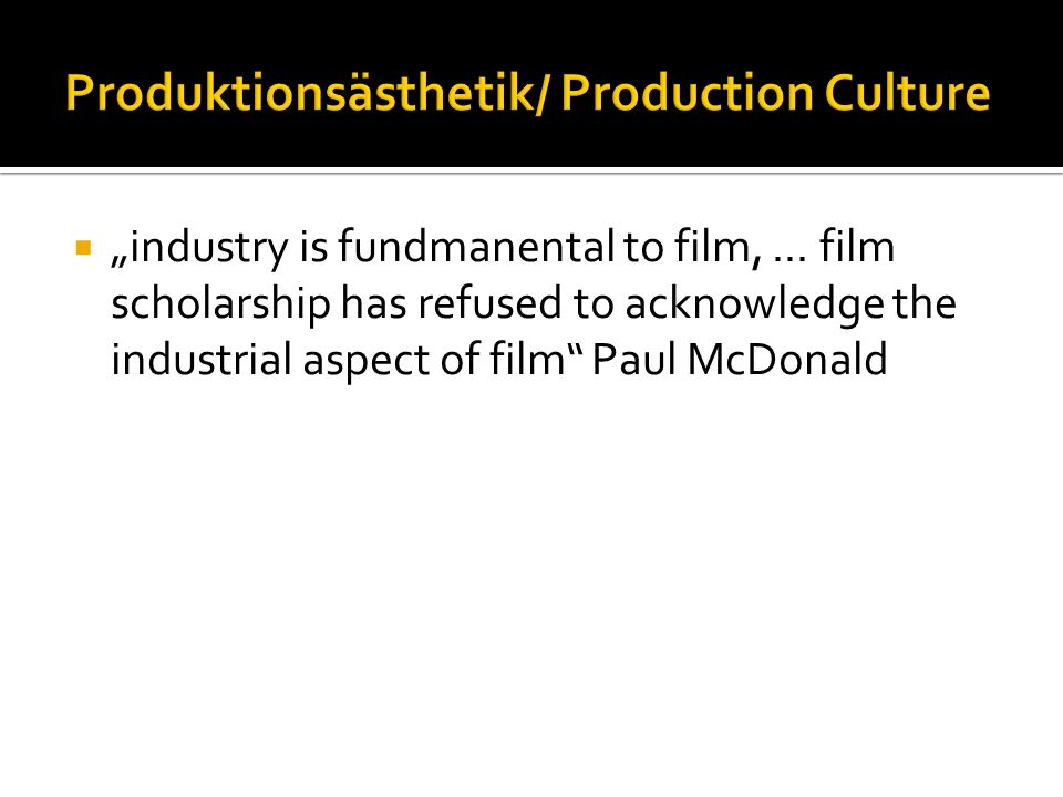 Produktionsästhetik/ Production Culture