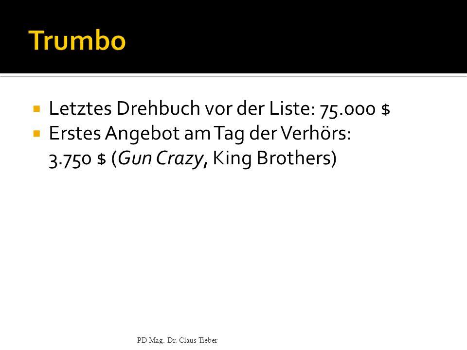 Trumbo Letztes Drehbuch vor der Liste: 75.000 $