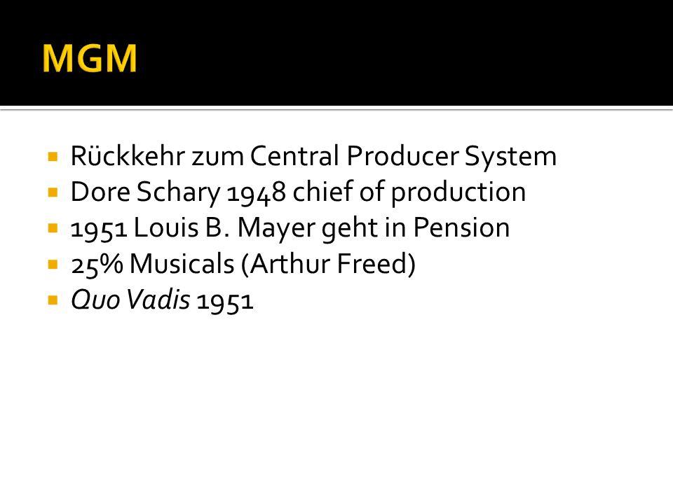 MGM Rückkehr zum Central Producer System
