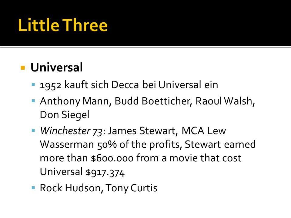 Little Three Universal 1952 kauft sich Decca bei Universal ein