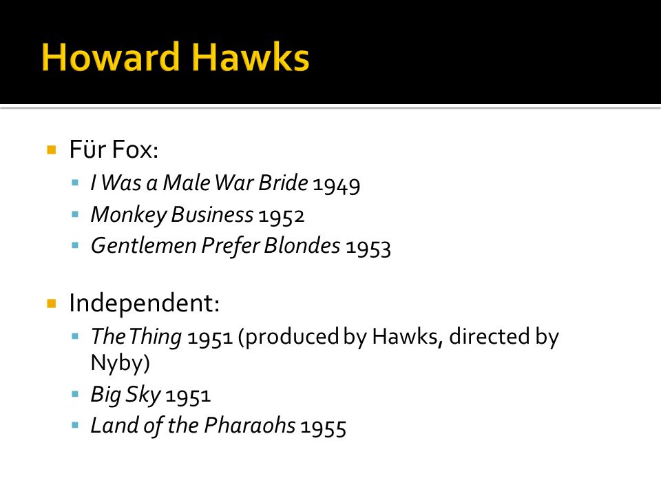 Howard Hawks Für Fox: Independent: I Was a Male War Bride 1949