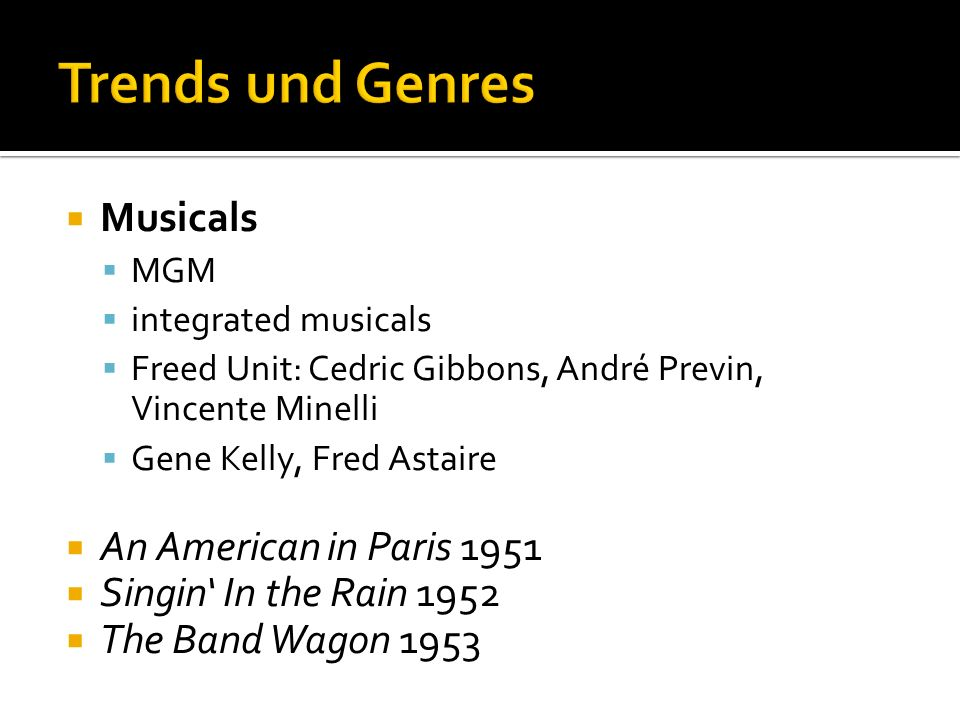 Trends und Genres Musicals An American in Paris 1951