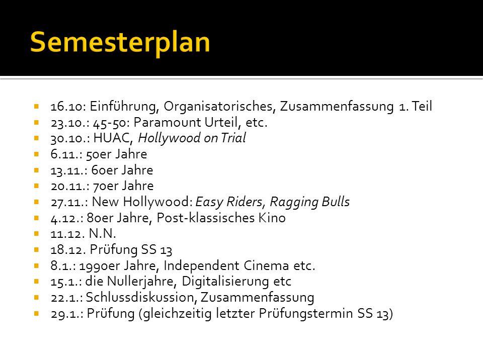 Semesterplan 16.10: Einführung, Organisatorisches, Zusammenfassung 1. Teil. 23.10.: 45-50: Paramount Urteil, etc.