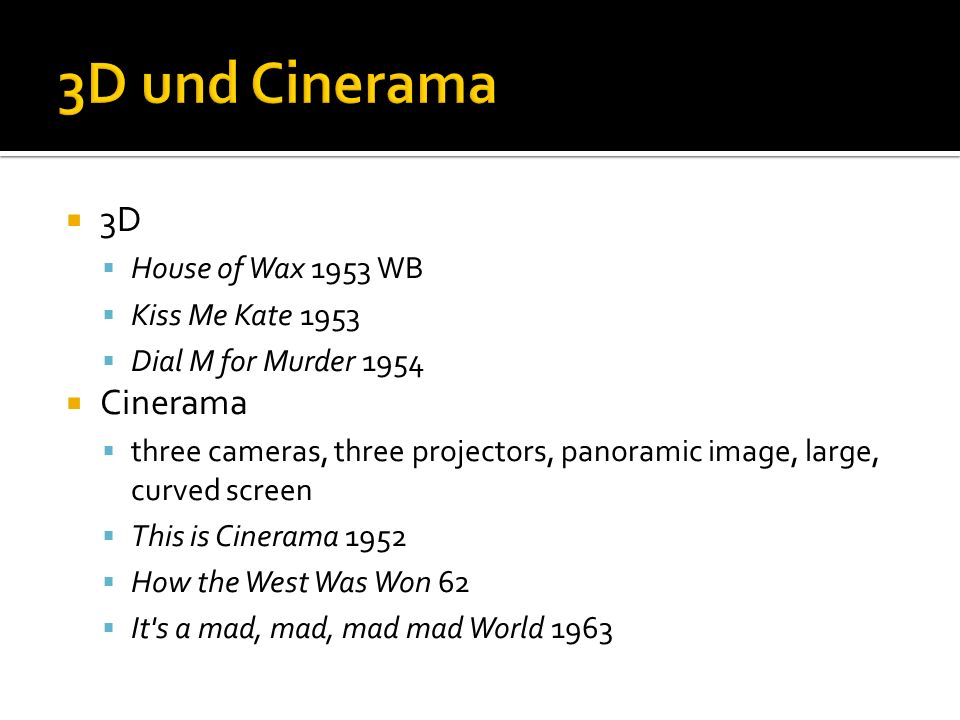 3D und Cinerama 3D Cinerama House of Wax 1953 WB Kiss Me Kate 1953