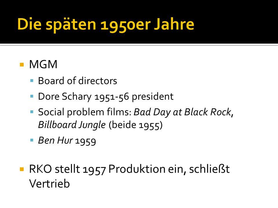 Die späten 1950er Jahre MGM. Board of directors. Dore Schary 1951-56 president.