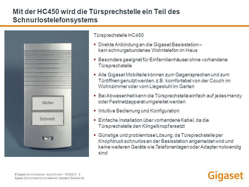 Mit der HC450 wird die Türsprechstelle ein Teil des Schnurlostelefonsystems