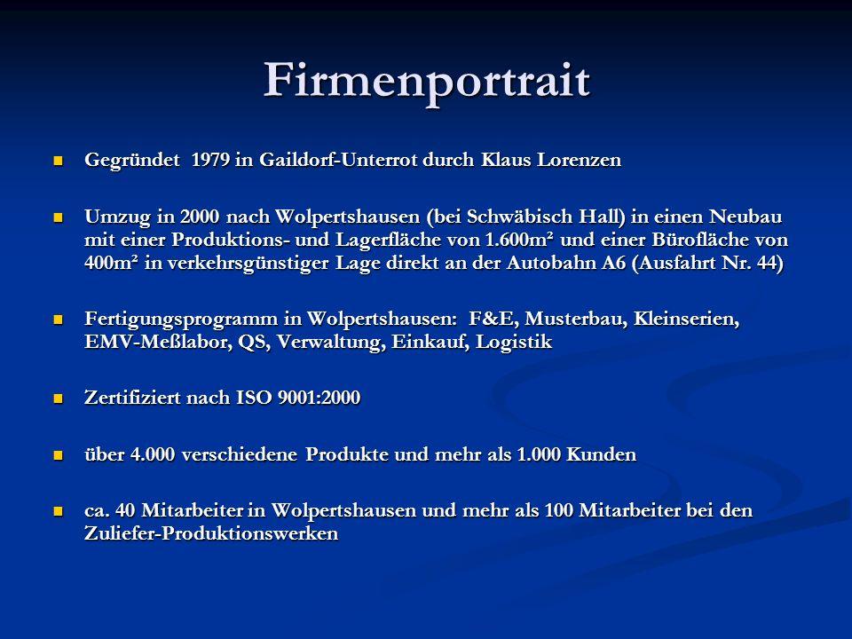 Firmenportrait Gegründet 1979 in Gaildorf-Unterrot durch Klaus Lorenzen.