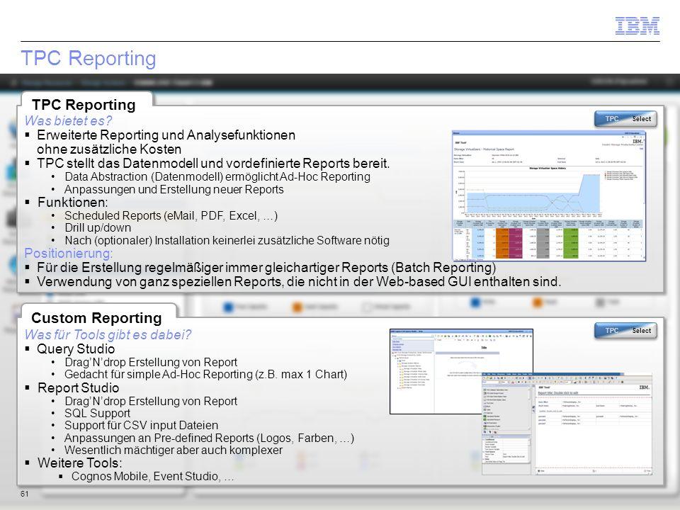 TPC Reporting TPC Reporting Custom Reporting Was bietet es