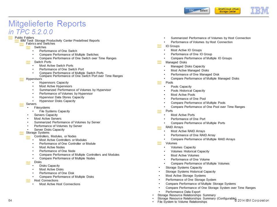 Mitgelieferte Reports in TPC 5.2.0.0
