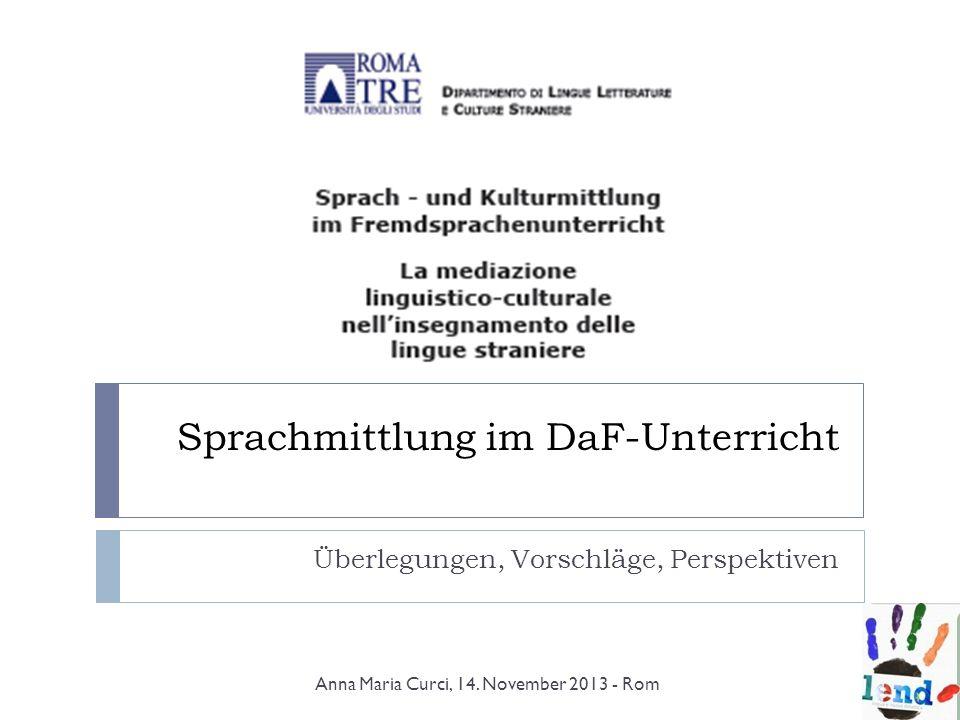 Sprachmittlung im DaF-Unterricht