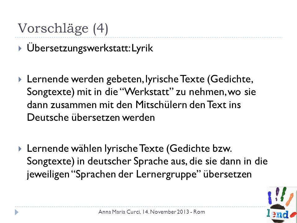 Vorschläge (4) Übersetzungswerkstatt: Lyrik