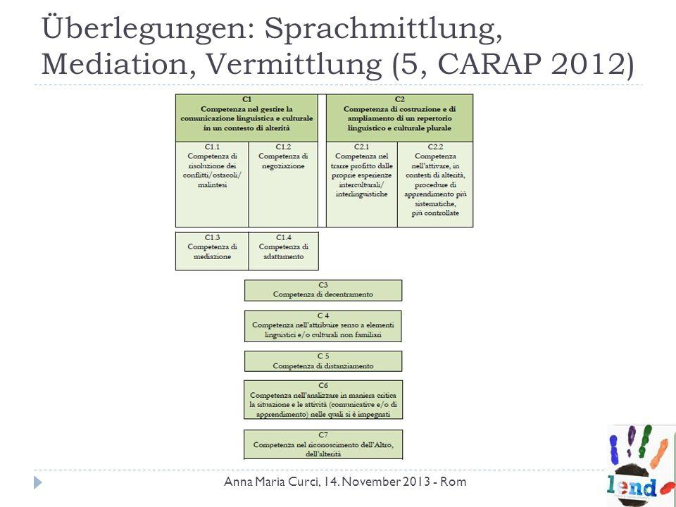 Überlegungen: Sprachmittlung, Mediation, Vermittlung (5, CARAP 2012)
