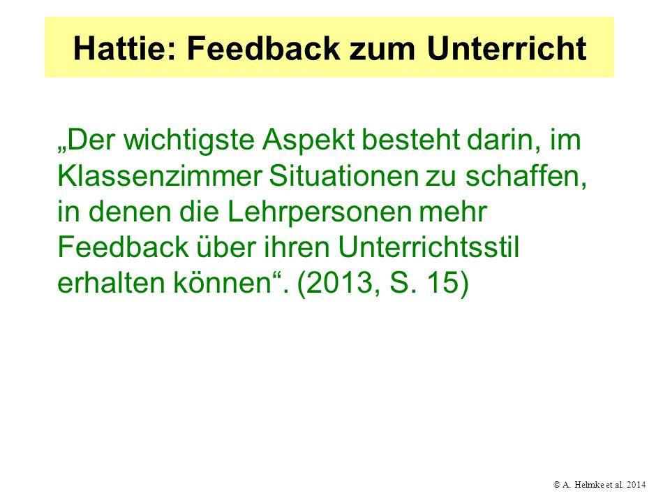 Hattie: Feedback zum Unterricht