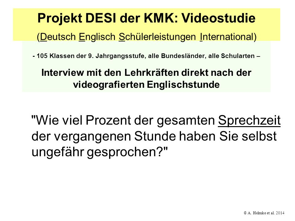 Projekt DESI der KMK: Videostudie