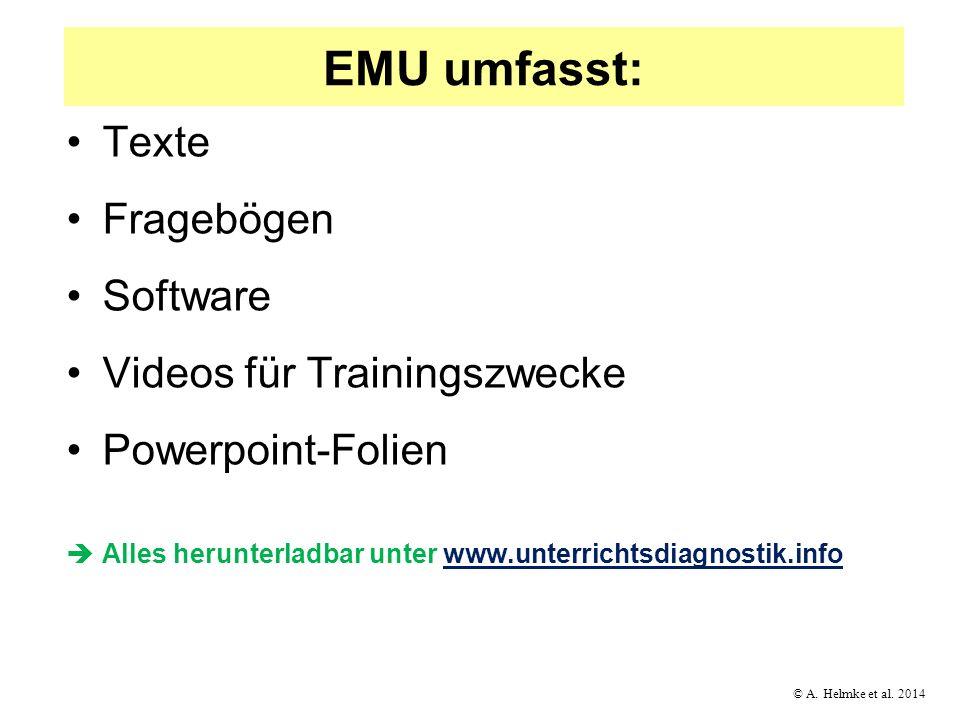 EMU umfasst: Texte Fragebögen Software Videos für Trainingszwecke