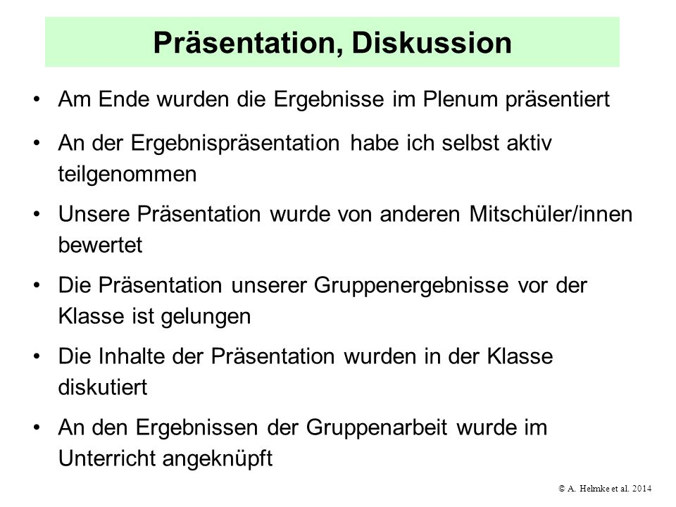 Präsentation, Diskussion