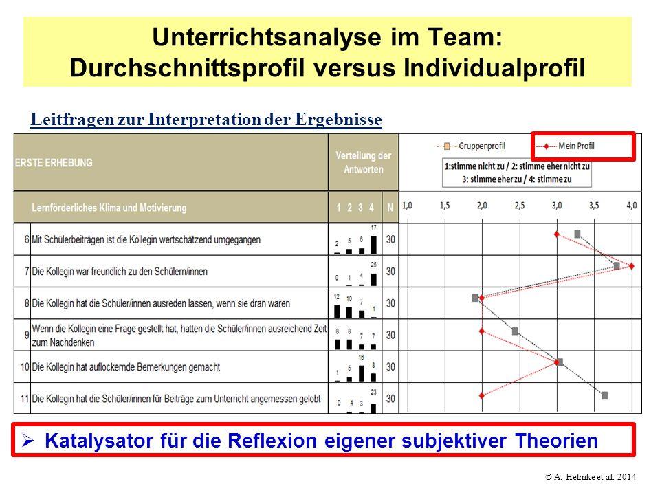 Unterrichtsanalyse im Team: Durchschnittsprofil versus Individualprofil