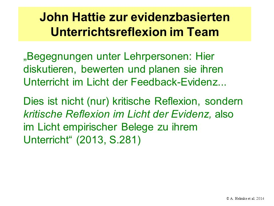 John Hattie zur evidenzbasierten Unterrichtsreflexion im Team