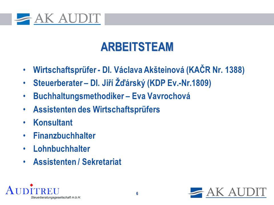 ARBEITSTEAM Wirtschaftsprüfer - DI. Václava Akšteinová (KAČR Nr. 1388)