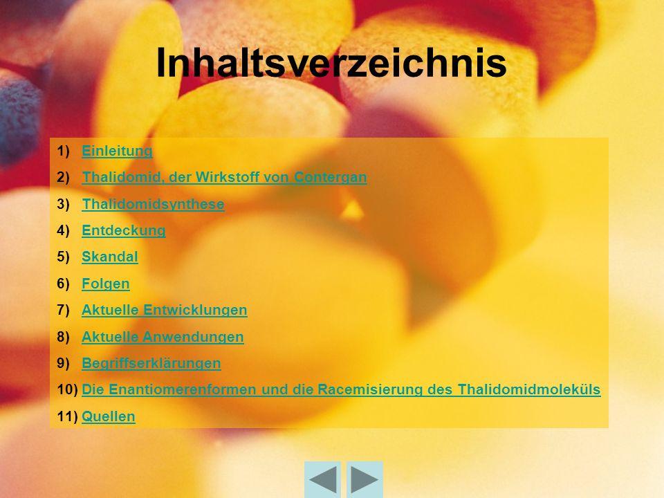 Inhaltsverzeichnis Einleitung Thalidomid, der Wirkstoff von Contergan