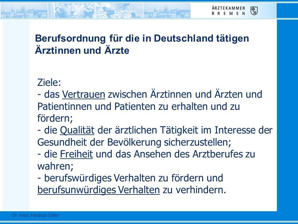Berufsordnung für die in Deutschland tätigen Ärztinnen und Ärzte