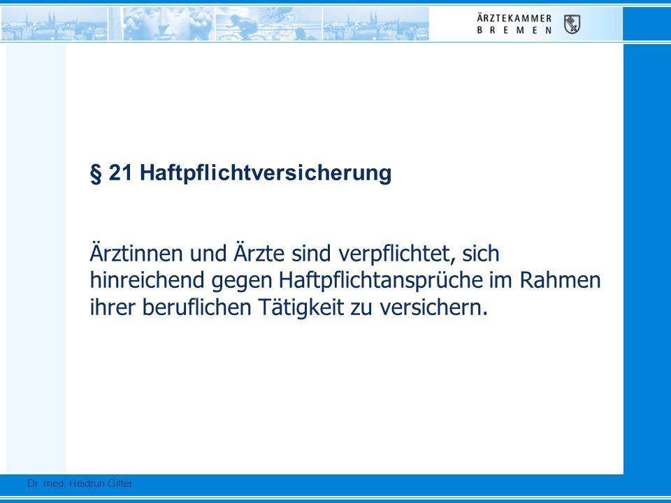 § 21 Haftpflichtversicherung