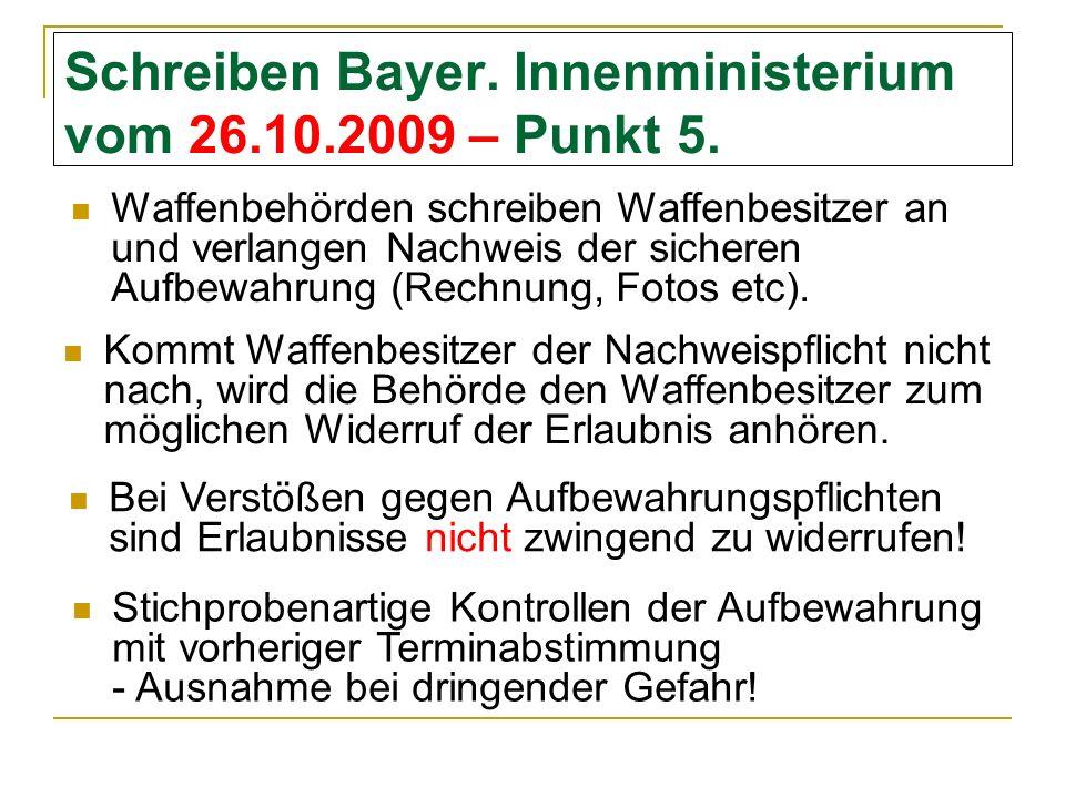 Schreiben Bayer. Innenministerium vom 26.10.2009 – Punkt 5.
