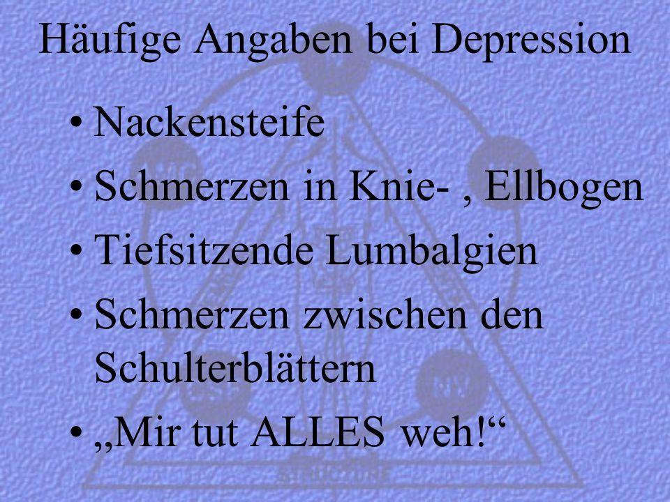 Häufige Angaben bei Depression
