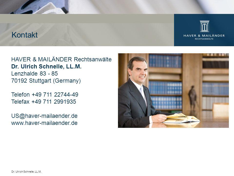 Kontakt HAVER & MAILÄNDER Rechtsanwälte Dr. Ulrich Schnelle, LL.M.