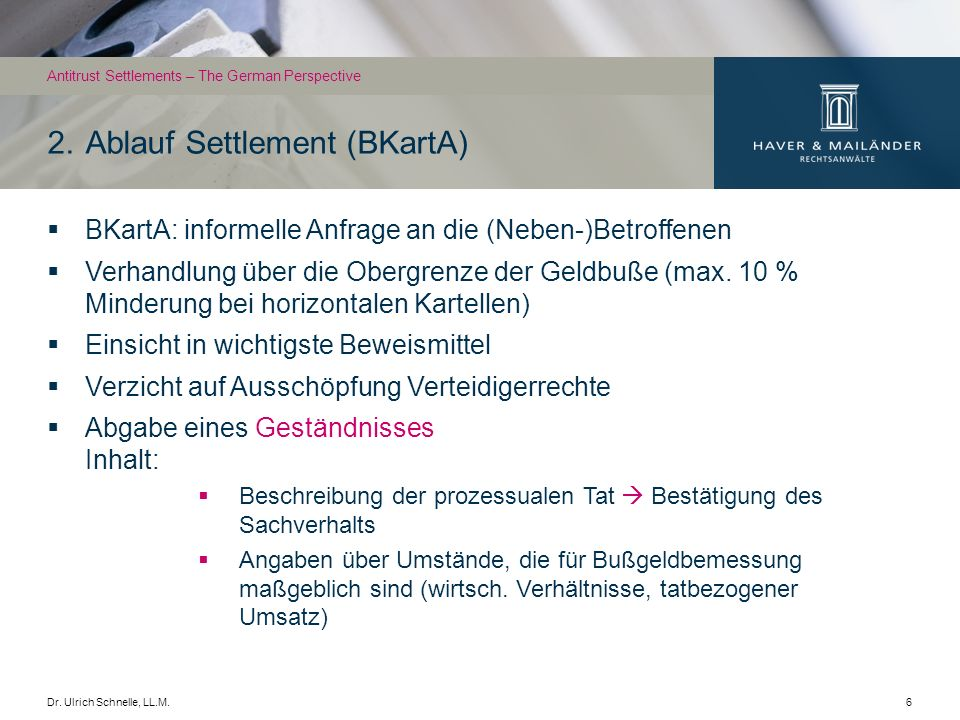 2. Ablauf Settlement (BKartA)