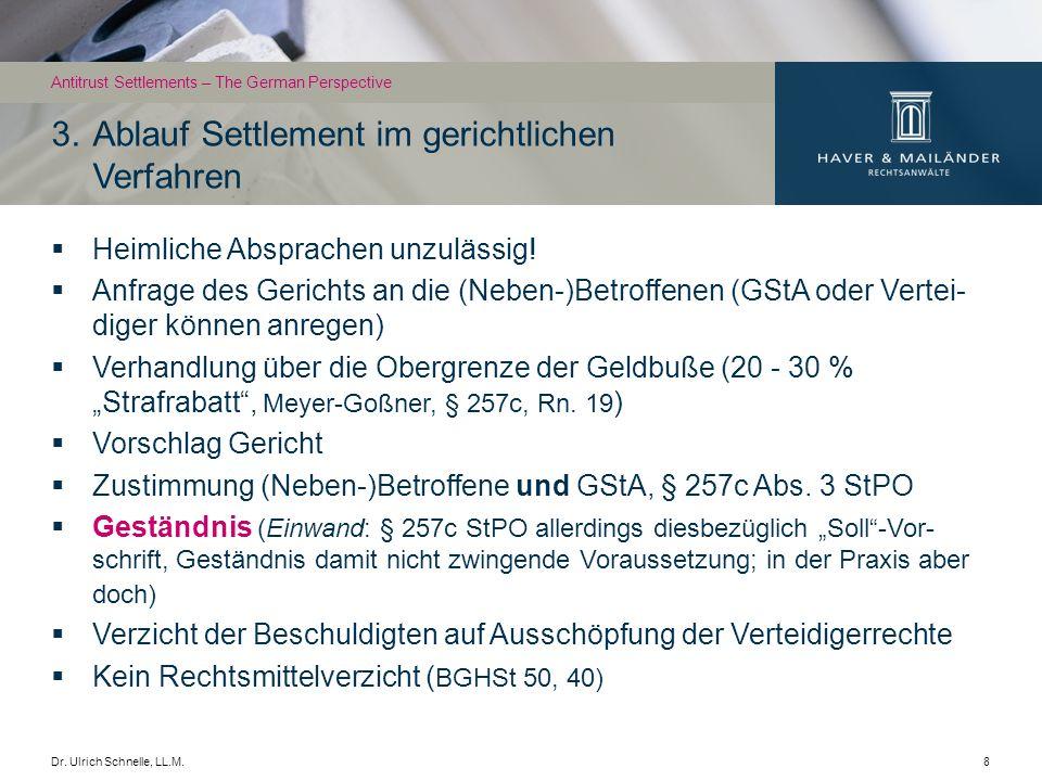 3. Ablauf Settlement im gerichtlichen Verfahren