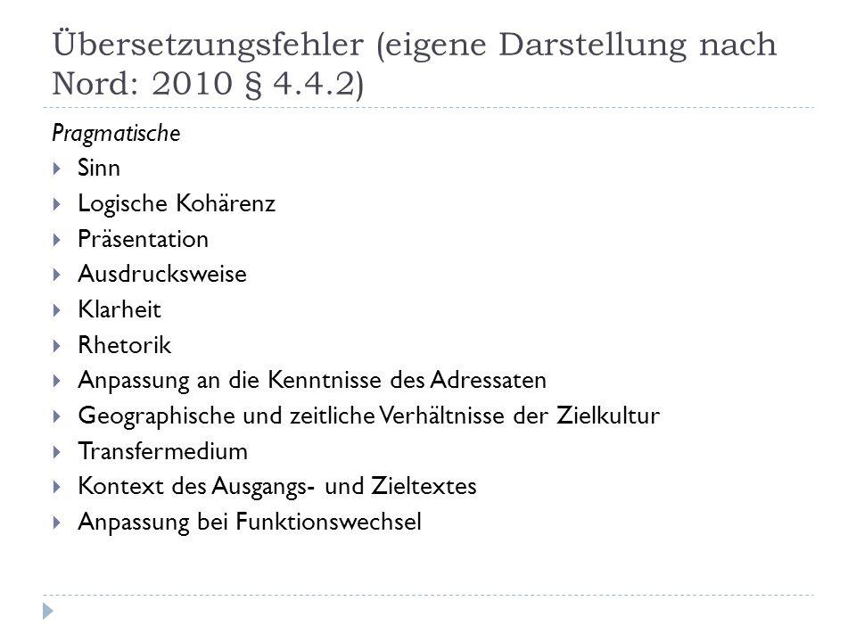 Übersetzungsfehler (eigene Darstellung nach Nord: 2010 § 4.4.2)