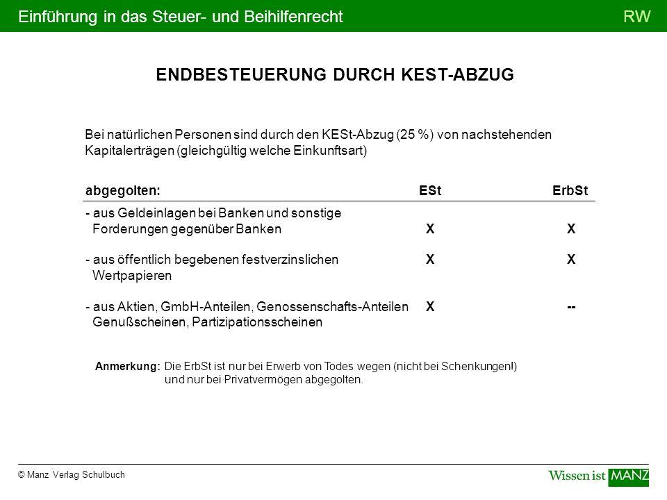 ENDBESTEUERUNG DURCH KEST-ABZUG