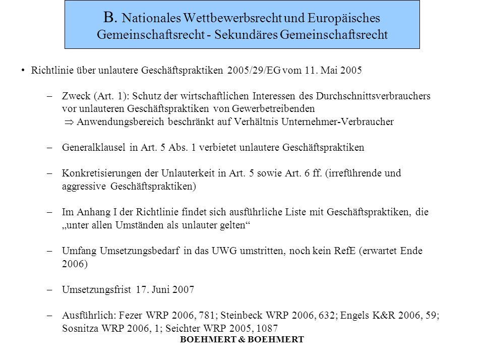 B. Nationales Wettbewerbsrecht und Europäisches Gemeinschaftsrecht - Sekundäres Gemeinschaftsrecht