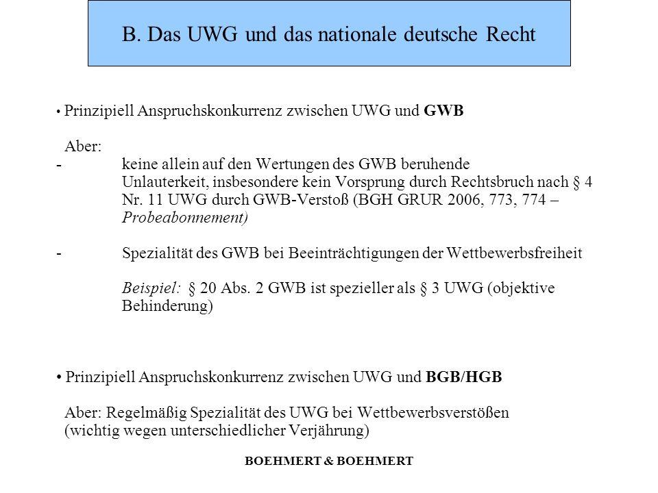 B. Das UWG und das nationale deutsche Recht