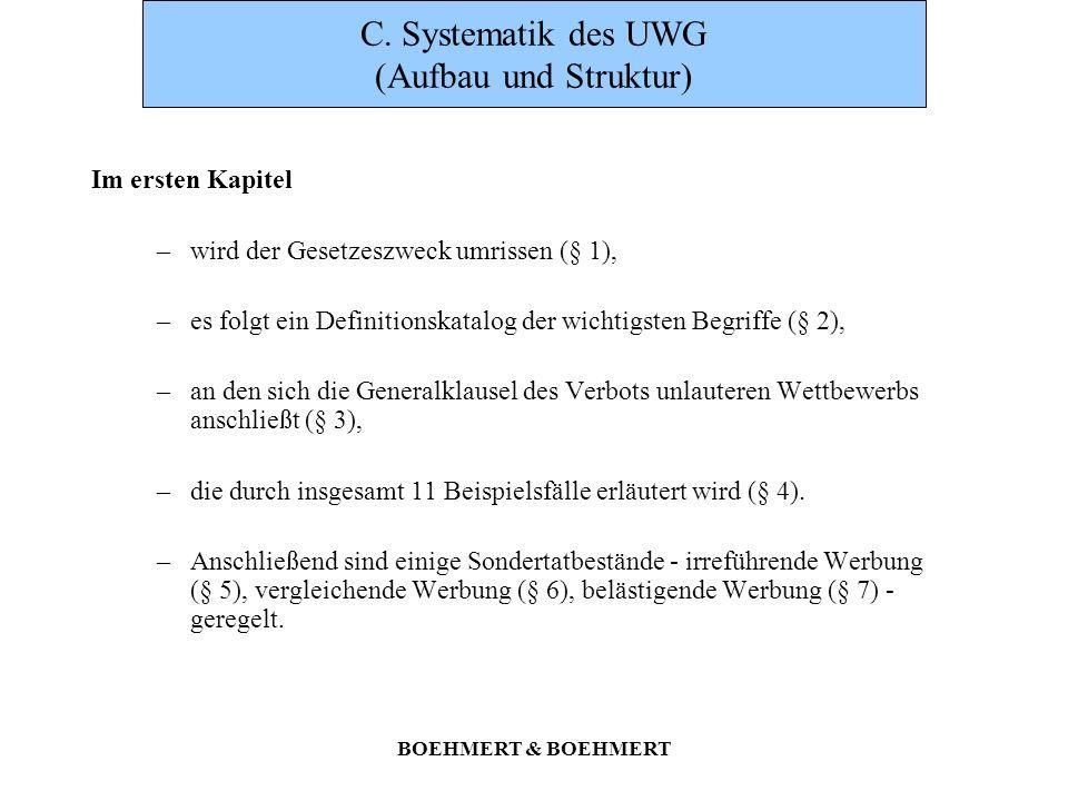 C. Systematik des UWG (Aufbau und Struktur)