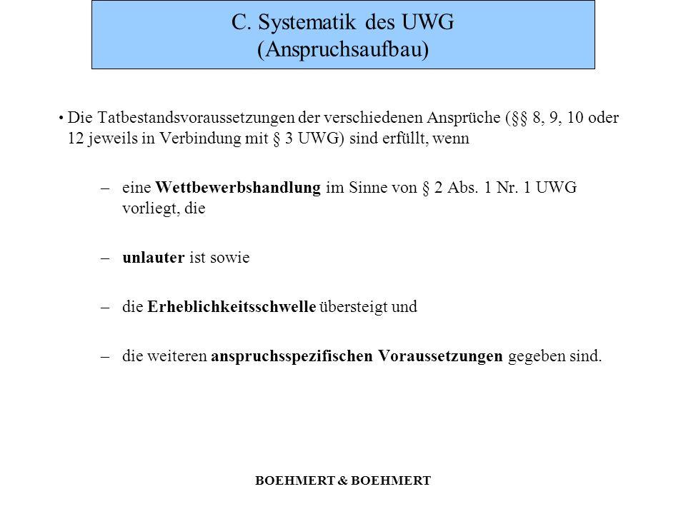C. Systematik des UWG (Anspruchsaufbau)