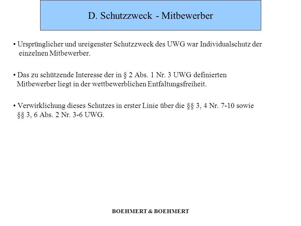 D. Schutzzweck - Mitbewerber