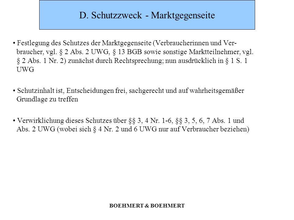 D. Schutzzweck - Marktgegenseite